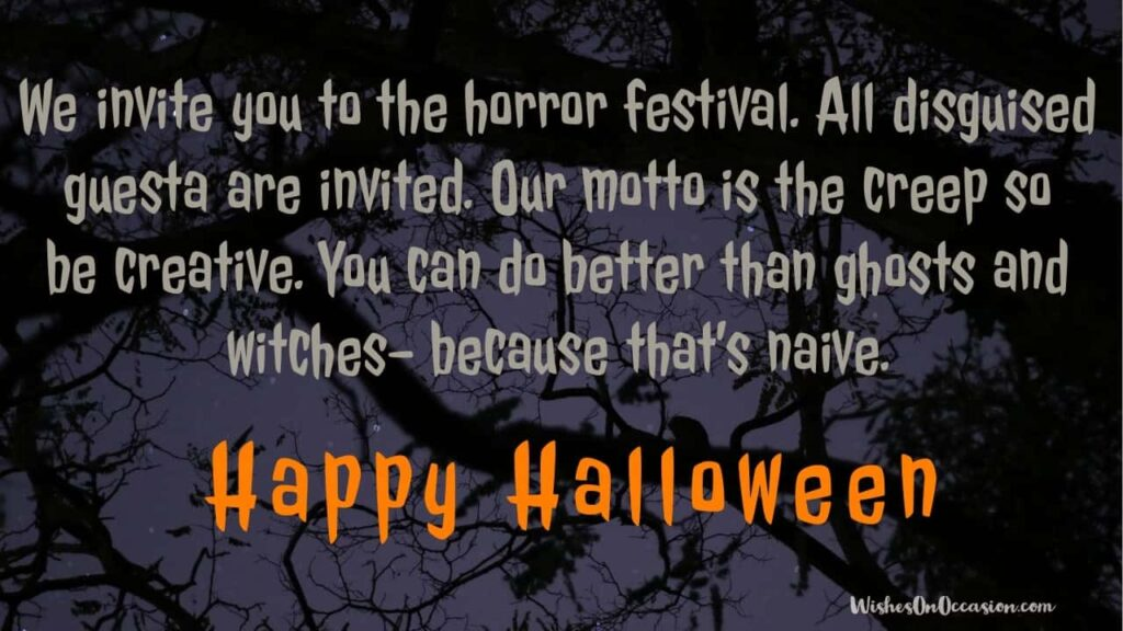 This image contain text about Happy Halloween spooky invitation greetings