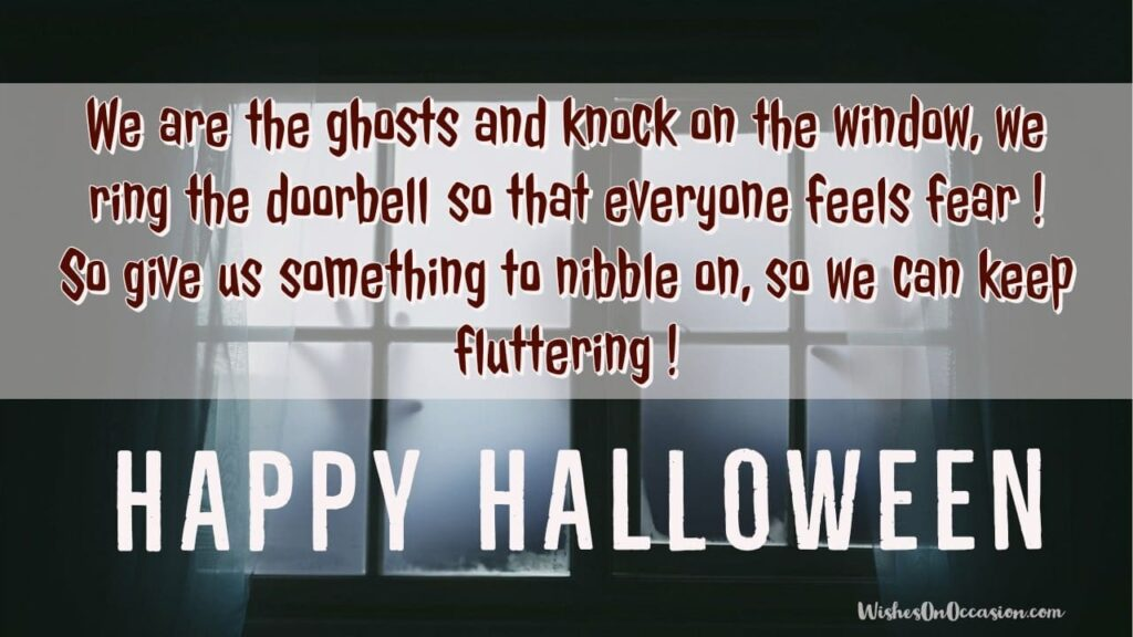 This image contains text about Happy Halloween Quotes, message, wishes,greetings