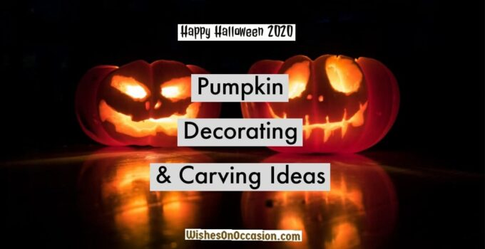 this image contain text about halloween pumpkin decorating and carving ideas