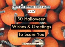 This image contain text about halloween wishes an dgreetings to scare you