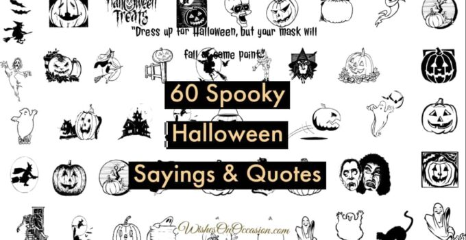 this image contains text about spooky halloween sayings and quotes